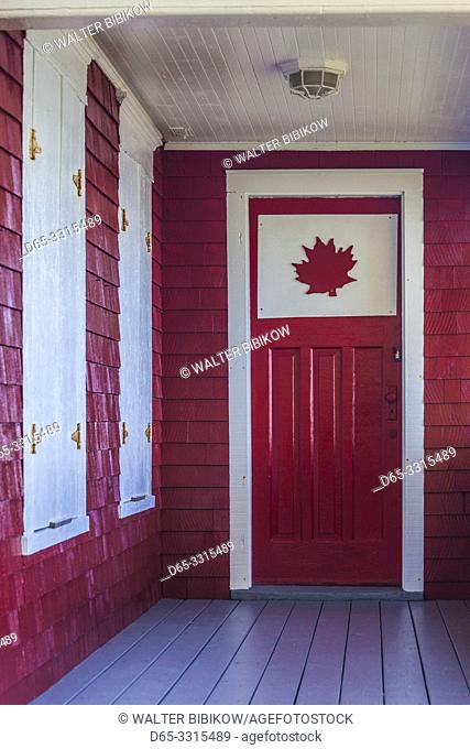 Canada, New Brunswick, Campobello Island, Welshpool, house with Canadian Maple Leaf designs