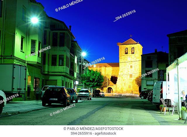 Square and church Santa Lucia in Almarza, Soria, Spain