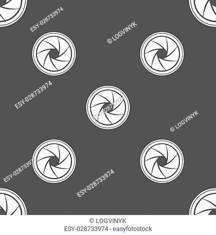 diaphragm icon. Aperture sign. Seamless pattern on a gray background. Vector illustration