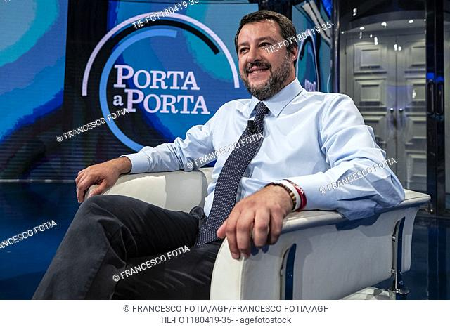 Italian Minister of Interior and Deputy Prime Minister Matteo Salvini attends at the tv show Porta a porta, Rome, ITALY-18-04-2019