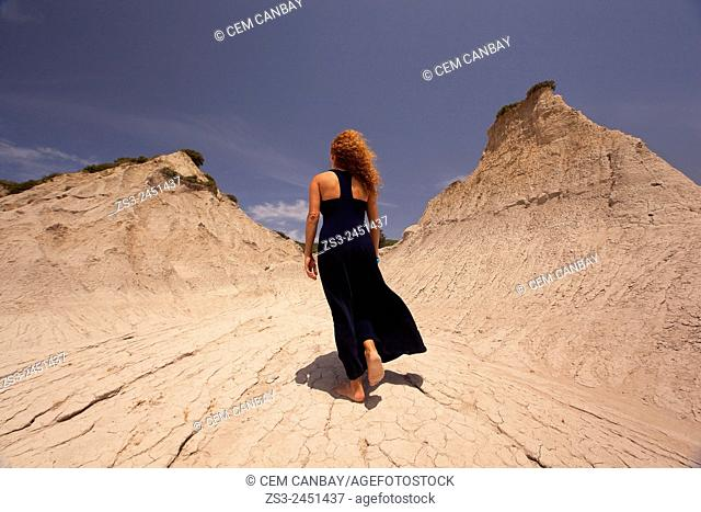 Woman at the geological formation near the village of Potamida, Chania Region, Crete, Greek Islands, Greece, Europe