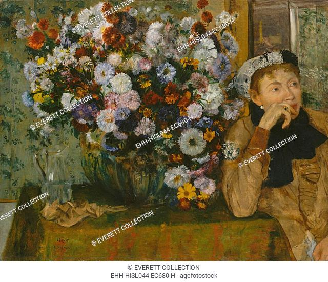 A Woman Seated beside a Vase of Flowers, by Edgar Degas, 1865, French impressionist oil painting. Degas adopted Impressionist pictorial elements