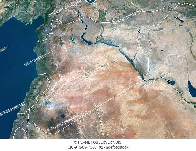Satellite view of Lebanon, Syria and Northern Iraq (with country boundaries). This image was compiled from data acquired by Landsat 8 satellite in 2014
