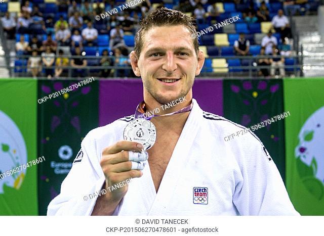 Lukas Krpalek from Czech Republic celebrates silver medal from the Men's Judo under 100kg in Heydar Aliyev Arena at the Baku 2015 1st European Games in Baku