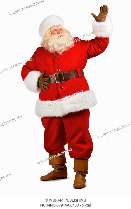 Santa Claus gesturing his hand isolated over white background. Presenting something. Full length portrait