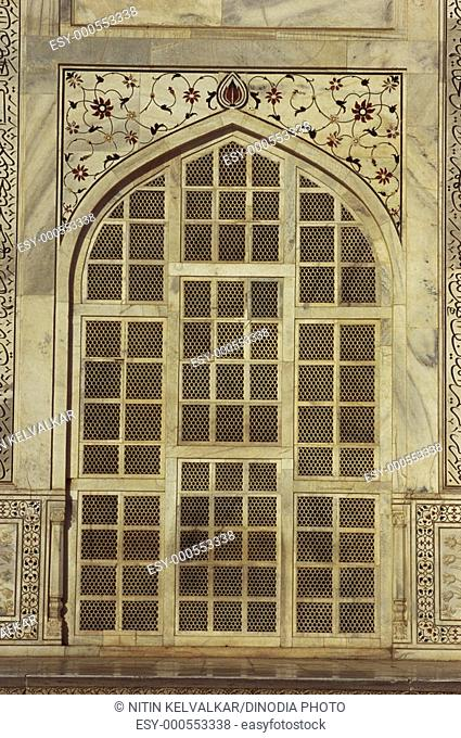 Marble screens & inlay work at Taj Mahal , Agra , Uttar Pradesh , India
