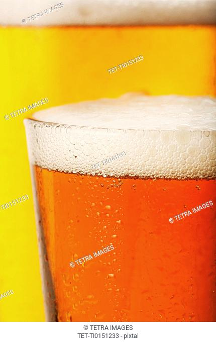 Close-up of lager in glass