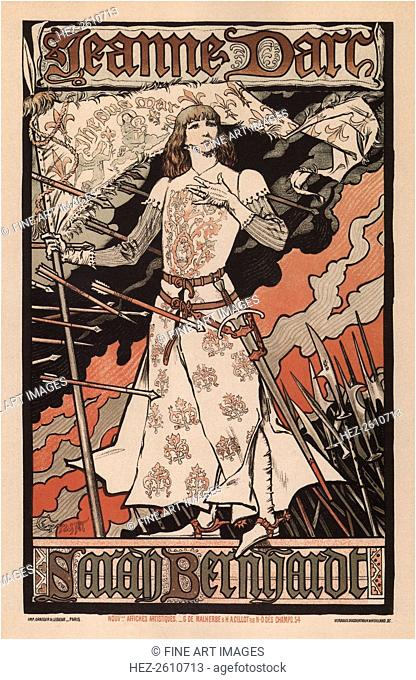 Sarah Bernhardt as Joan of Arc, 1893. Artist: Grasset, Eugène (1841-1917)