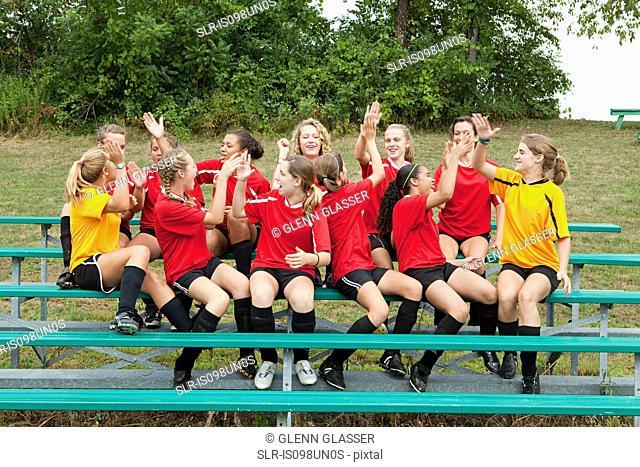 Female soccer team high fiving