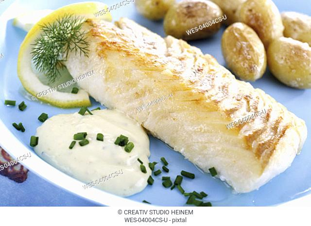 Codfish with remolade and roast potaoes