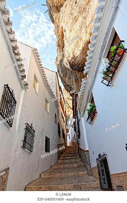Wide view of street between the rocks in Setenil de las Bodegas, Cadiz ,Spain
