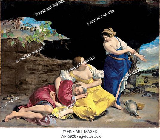 Lot and His Daughters by Gentileschi, Orazio (1563-1638)/Oil on canvas/Baroque/ca 1628/Italy, School of Pisa/Museo de Bellas Artes de...