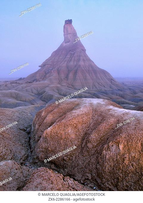 Castildeterra eroded clay and chalk formation at dawn. Bardenas Reales Natural Park. Biosphere Reserve. Navarre. Spain