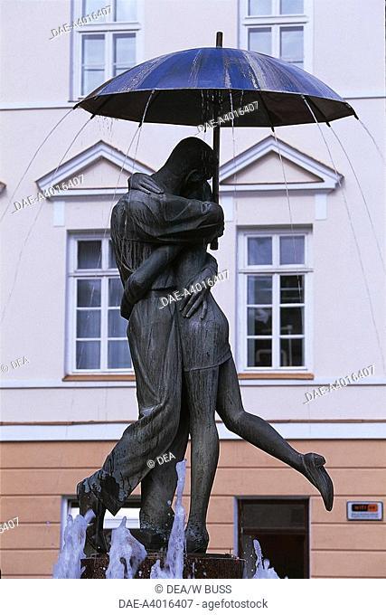 Close-up of statues in front of a building, Raekoja Plats, Tartu, Estonia