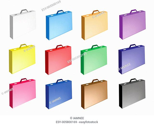 Colorful Illustration Set of Leather Suitcase Icons