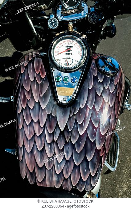 A motorcycle decorated in the form of an American eagle, Ontario, Canada