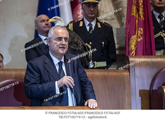 President of S.S. Lazio Claudio Lotito during the prizegiving at Campidoglio Palace, Rome, ITALY-10-07-2019
