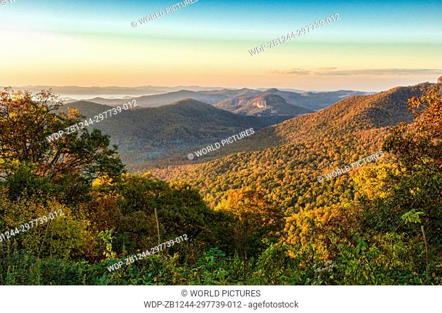 Brevard North Carolina mountains near Asheville Fall Colors Blue Ridge Highway sunrise hills ridges