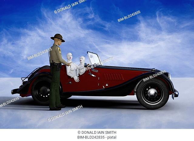 Trooper talking to robot women driving vintage car