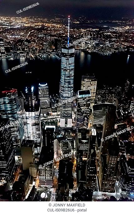 Aerial view from helicopter of Freedom Tower, Manhattan, New York, USA