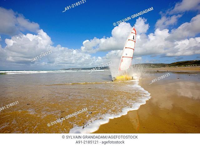 France, Normandy, Cotentin, La Hague district, sand yachting on Vauville beach
