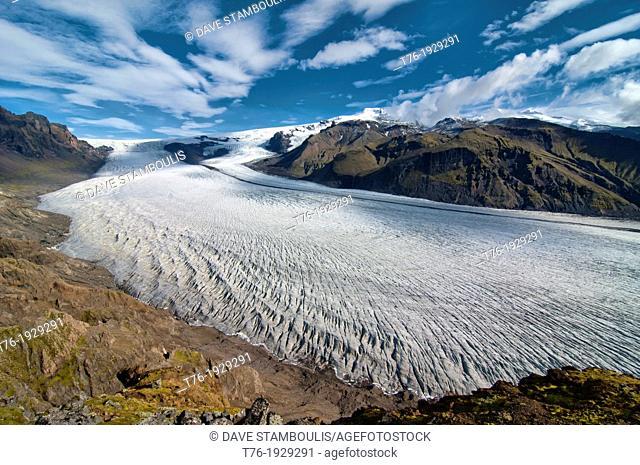 Skaftafellsjokull Glacier in Vatnajokull National Park, Skaftafell, Iceland