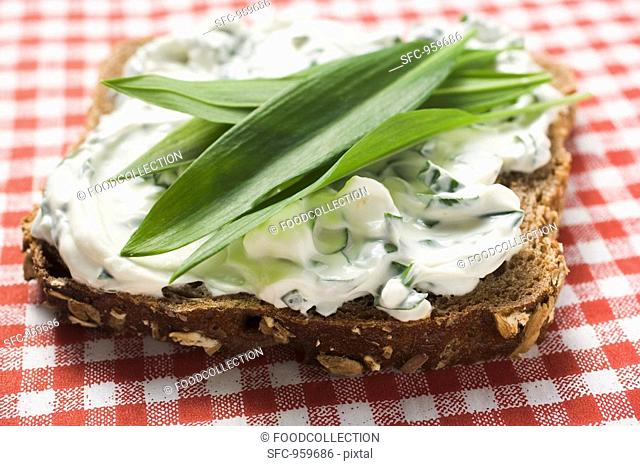 Quark and ramsons wild garlic on wholemeal bread