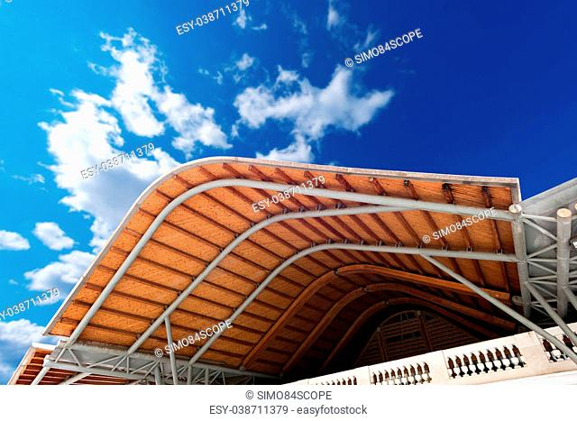 Detail of the roof of the market of Santa Caterina in Barcelona, Catalonia, Spain. View from below