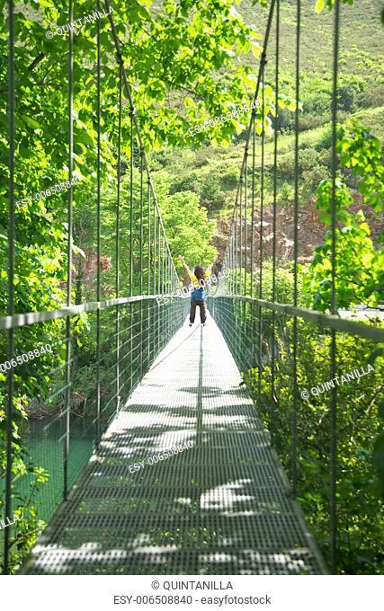 footbridge over Sella river near to Ribadesella village in Asturias Spain