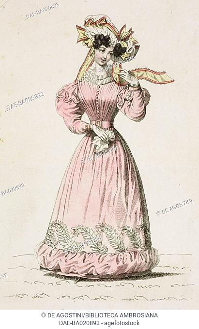 Woman wearing a pink walking dress and white hat adorned with ribbons, plate 39, French Fashions, Il Corriere delle Dame, 1827