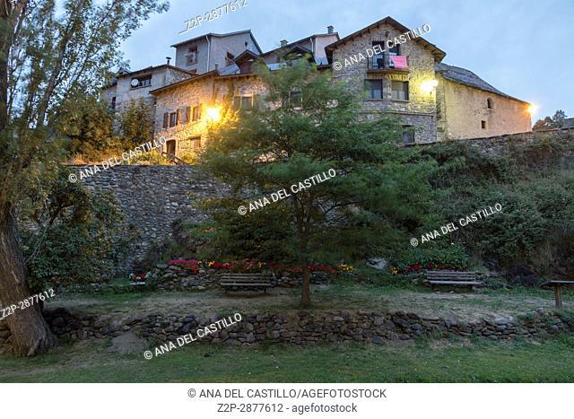 Sallent de Gallego village in Tena valley Huesca Aragon Spain Nightscape with the medieval bridge