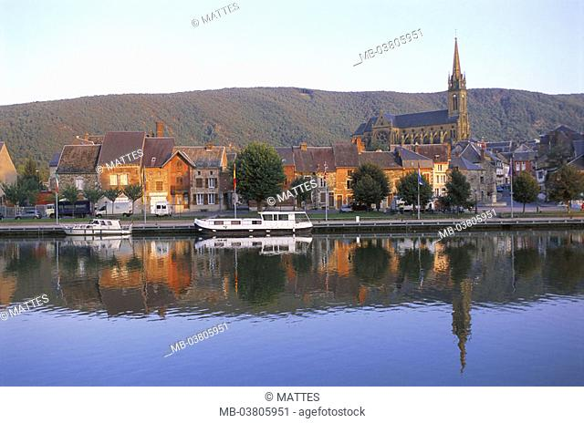 France, Ardennen, Fumay,  view at the city, river Maas,  Europe, Département Ardennes, Champagne, city, houses, buildings, church, landing place, riversides
