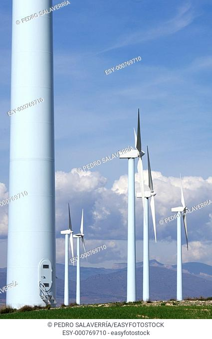 entrance to a windmill with cloudy sky in Pozuelo de Aragon, Saragossa, Aragon, Spain