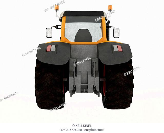 3D Visualization tractor isolated on white background