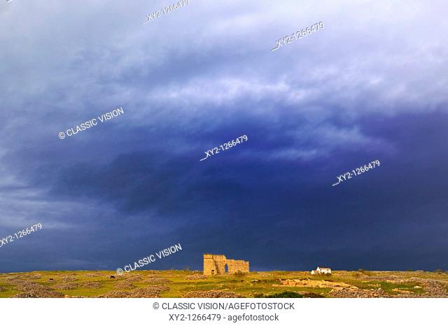 Acinipo Roman Ruins, Malaga Province, Spain  Ruins of Roman city also known as Ronda La Vieja  The theatre