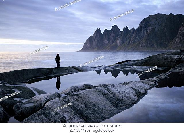 Norway, Troms County, north of the Arctic Circle, Senja island between Tromso and the Lofoten islands, Tungeneset coastline, Devil's Teeth