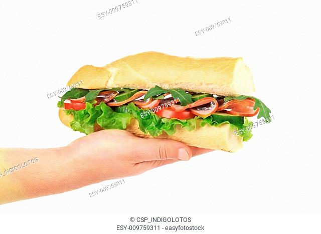 Hand holds french baguette sandwich
