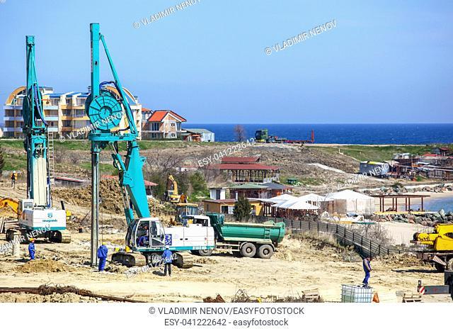 Ravda, Bulgaria - April 26, 2011: Large construction site near the sea