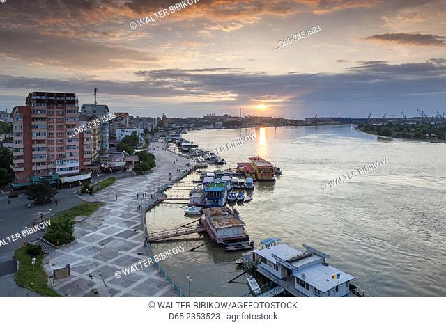 Romania, Danube River Delta, Tulcea, elevated view of the Tulcea Port on the Danube River, sunset