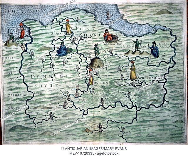 17th century Map of the Polyolbion - Flint an Denbigh, Wales