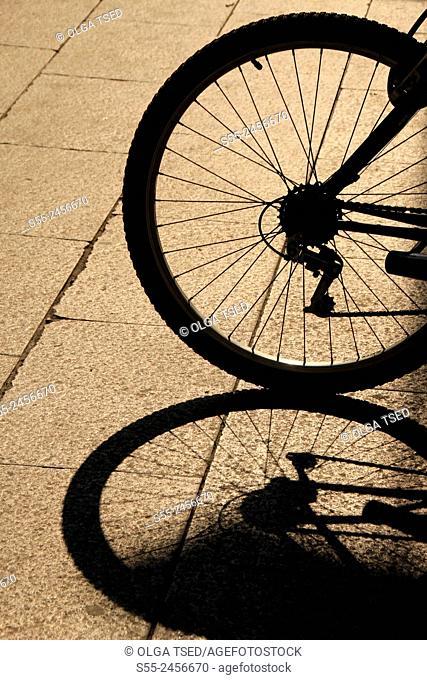 Bicycle's wheel, backlit, Barcelona, Catalonia, Spain