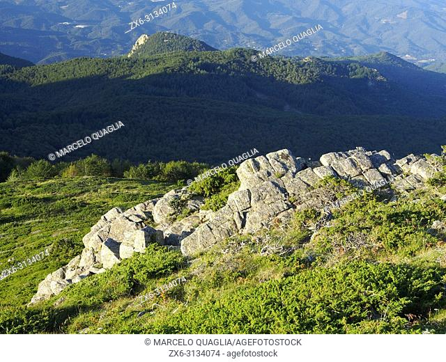 View from Turó Gros summit with Grenys and Vilanova peaks at background during sunset. Montseny Natural Park. Barcelona province, Catalonia, Spain