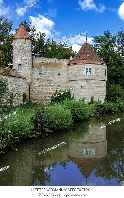 City Wall and Towers, Dinkelsbuhl, Romantic Road, Middle Franconia, Bavaria, Germany
