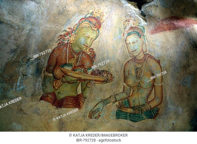 The Cloud Maidens or the Cloud Damsels, frescoes at Sigiriya or Lion's Rock rock fortress, Sri Lanka, South Asia