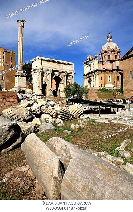Italy, Rome, Temple of Vespasian and Titus and Church of Santi Luca e Martina at Forum Romanum