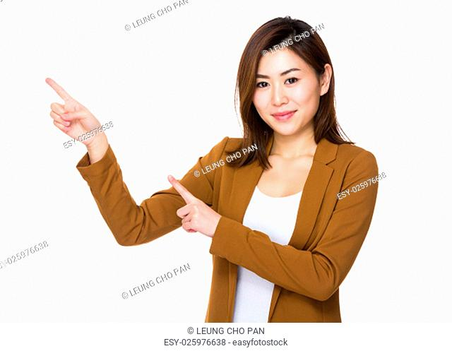 Asian young businesswoman with two finger point up