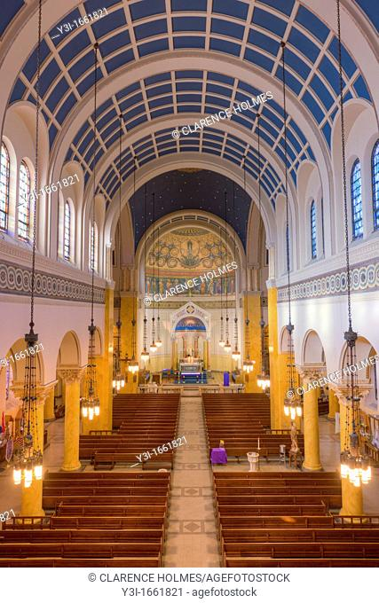 The beautiful interior of St  Mary's Church, one of the churches in the Parish of the Resurrection, in Jersey City, New Jersey