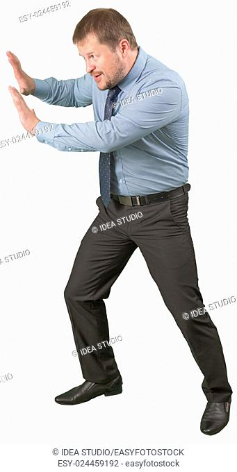Middle-aged businessman rested on ivisible wall on white background isolated