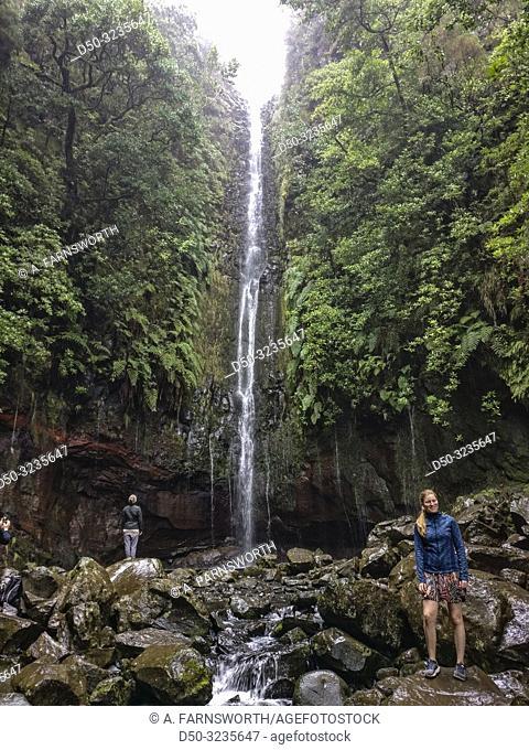 Madeira, Portugal A waterfall at the Rabaçal 25 Fountains Levada walk