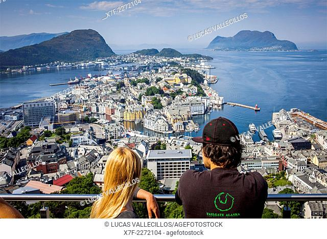 Fjellstua viewpoint in mount Aksla, Alesund, More og Romsdal, Norway